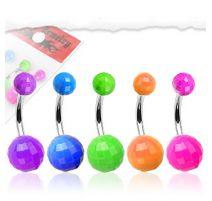 Lot de 5 piercing nombril boules disco fluo