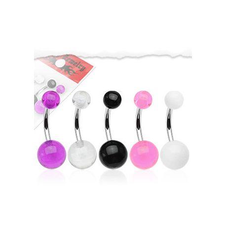 Lot de 5 piercing nombril boules acrylique