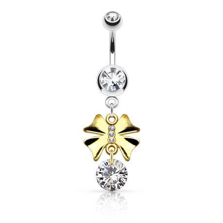 Piercing nombril nœud doré gemme