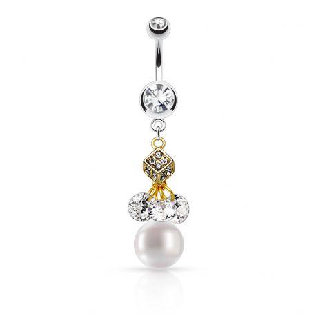 Piercing nombril pendentif dé et perle