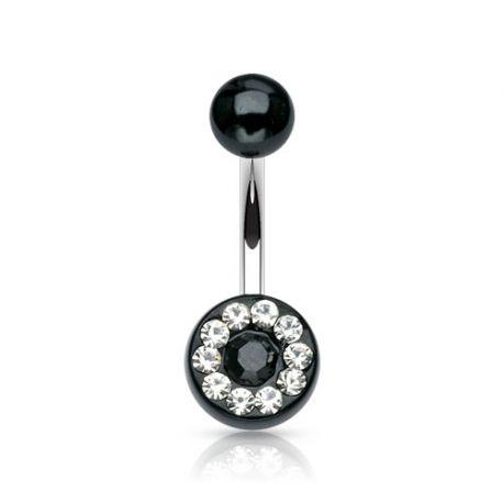 Piercing nombril acrylique gemmes noir