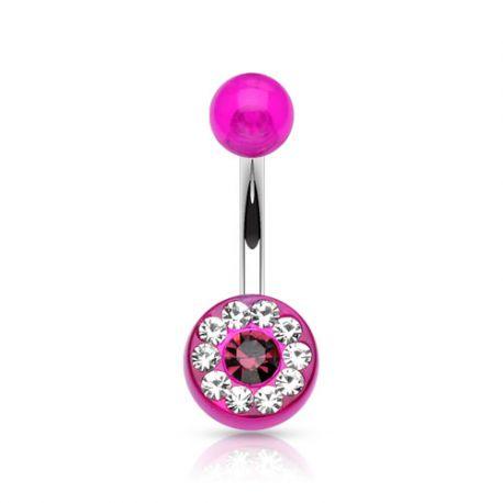 Piercing nombril acrylique gemmes violet