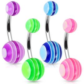 Lot de 4 piercing de nombril boules multicolores