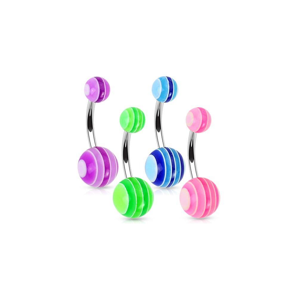 lot de 4 piercing de nombril boules multicolores. Black Bedroom Furniture Sets. Home Design Ideas