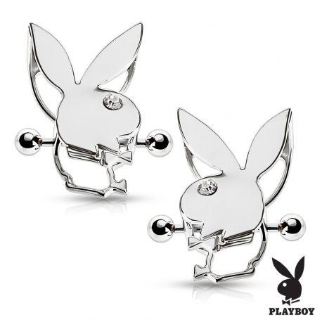 Paire de piercing téton bouclier Playboy
