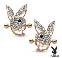 Paire de piercing téton bouclier Playboy gemmes plaqué or rose