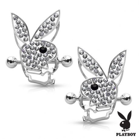 Paire de piercing téton bouclier Playboy gemmes