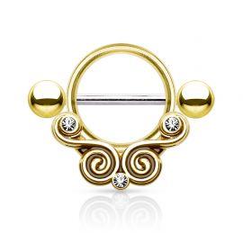 Piercing téton bouclier dentelle doré