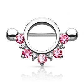 Piercing téton bouclier cinq gemmes rose