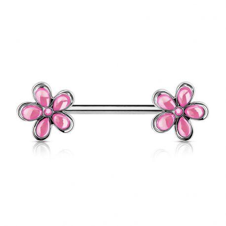 Piercing téton double fleurs rose