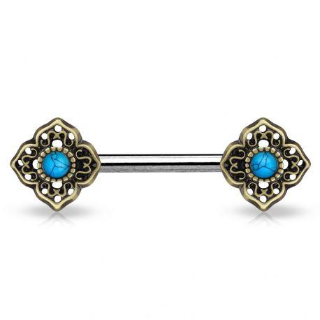 Piercing téton fleur tribale turquoise doré