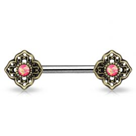 Piercing téton fleur tribale opale rose