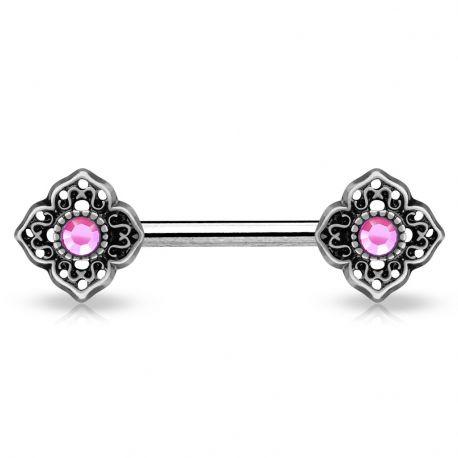 Piercing téton fleur tribale gemme rose