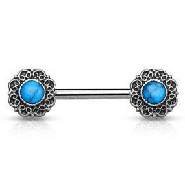 Piercing téton cœurs tribal turquoise argenté