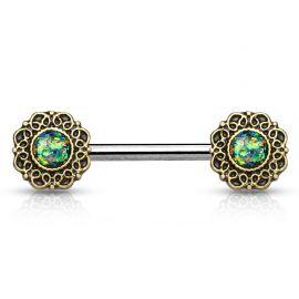 Piercing téton cœurs tribal opale verte