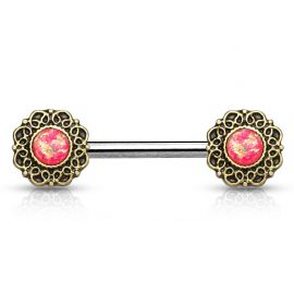 Piercing téton cœurs tribal opale rose