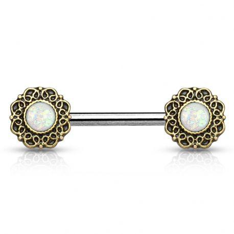 Piercing téton cœurs tribal opale blanche