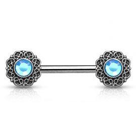 Piercing téton cœurs tribal gemme turquoise