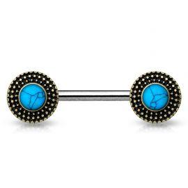 Piercing téton bouclier tribal turquoise doré
