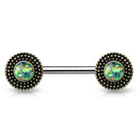 Piercing téton bouclier tribal opale verte