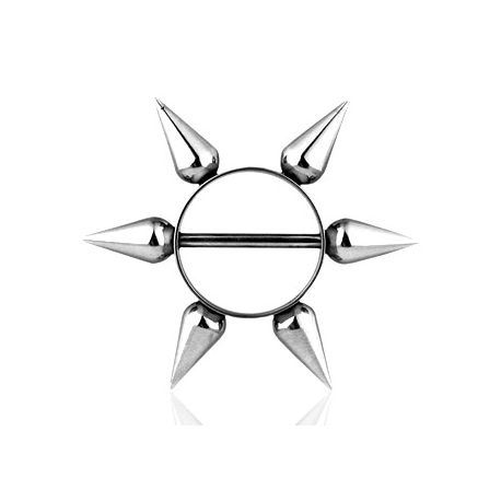 Piercing téton bouclier long spikes