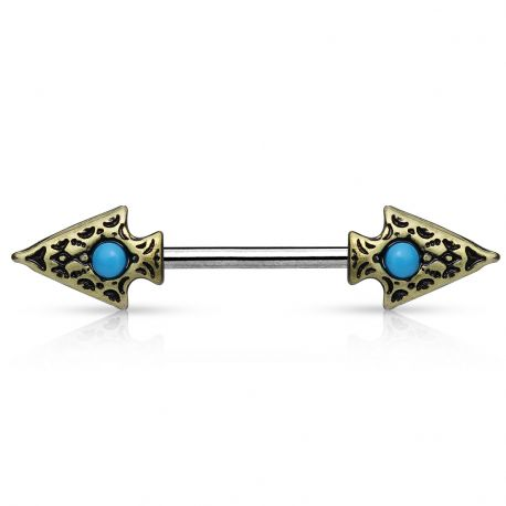 Piercing téton tribal lances doré