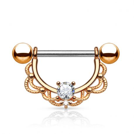 Piercing nombril filigrane or rose