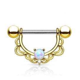 Piercing téton filigrane opale plaqué or