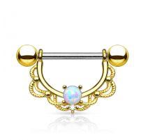 Piercing nombril filigrane opale plaqué or