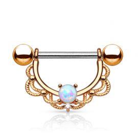 Piercing téton filigrane opale or rose