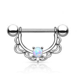 Piercing téton filigrane opale