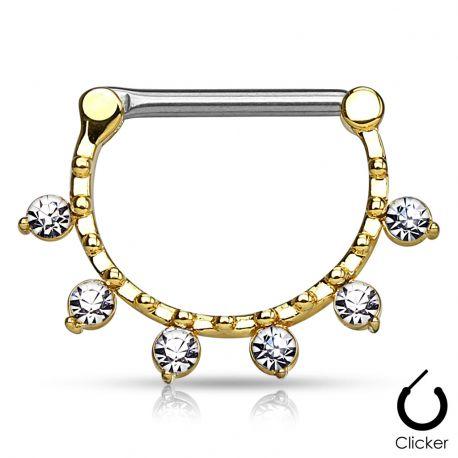 Piercing téton 6 cristaux doré