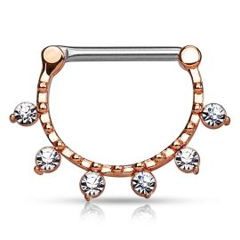 Piercing téton 6 cristaux or rose