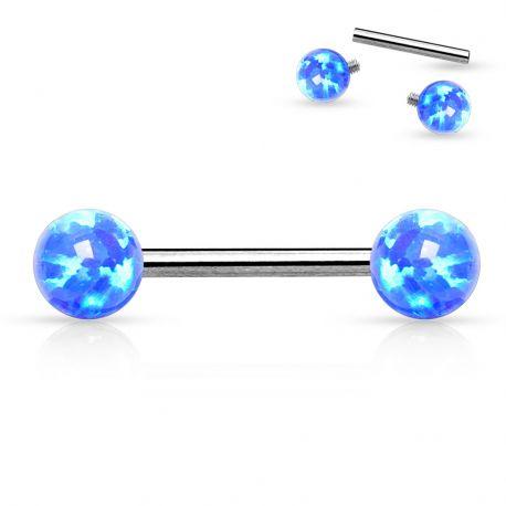 Piercing téton pierre opale bleue
