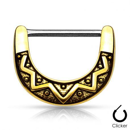 Piercing téton éventail tribal 1,2 mm plaqué or