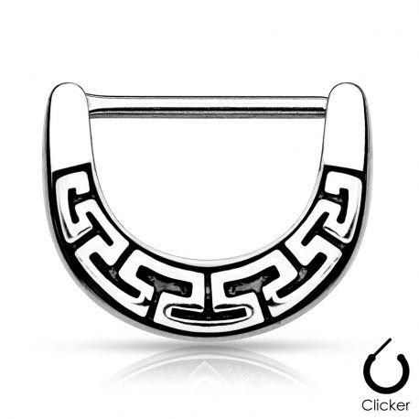 Piercing téton labyrinthe tribal argenté