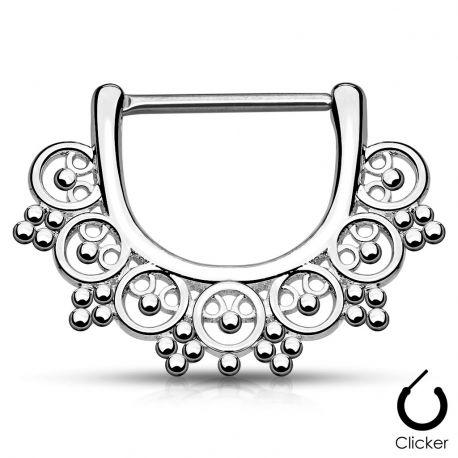 Piercing téton éventail inspiration tribale 1,2 mm argenté