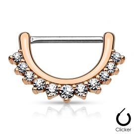 Piercing téton ligne de strass or rose