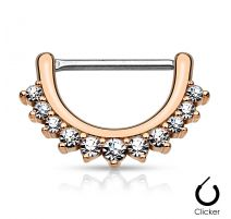 Piercing téton ligne de strass 1,2 mm or rose