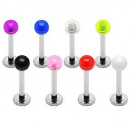 Lot de 8 piercing labret avec boules acrylique claires