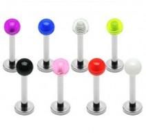 Lot de 8 piercing labret avec boules acrylique claires - Bijou Piercing Labret