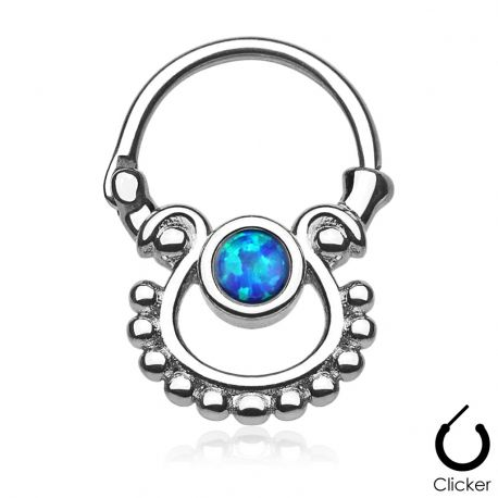 Piercing septum pierre opale bleue