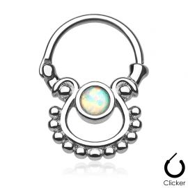 Piercing septum pierre opale blanche
