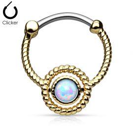 Piercing septum corde opale doré