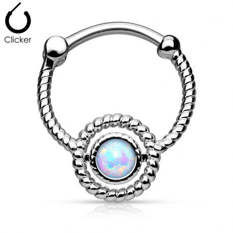 Piercing septum corde opale argenté