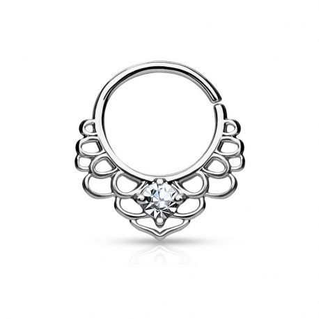 Piercing septum pliable lotus plaqué rhodium