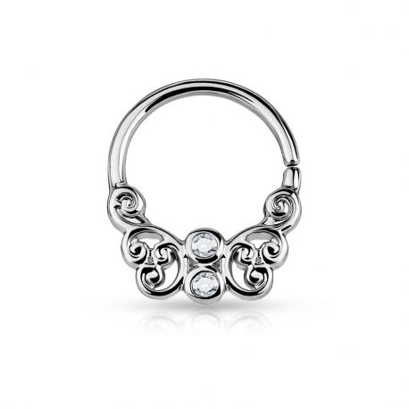 Piercing septum pliable papillon plaqué rhodium