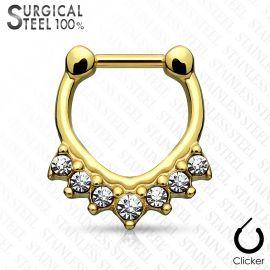 Piercing septum acier chirurgical sept cristaux doré
