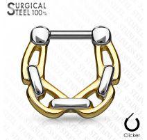 Piercing septum acier chirurgical chaines 1,6 mm doré
