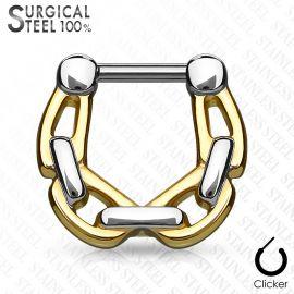 Piercing septum acier chirurgical chaines 1,2 mm doré